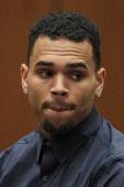 B singer Chris Brown appears in court for a probation progress hearing on February 3 2014 in Los Angeles California Brown has been on probation since...