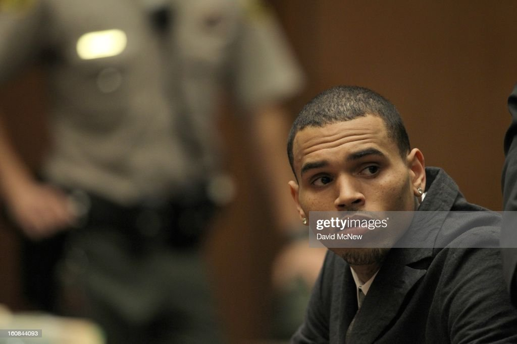 R&B singer Chris Brown appears in court for a probation progress report hearing on February 6, 2013 in Los Angeles, California. Brown pleaded guilty to assaulting his girlfriend, singer Rihanna, after a pre-Grammy Awards party in 2009. Prosecutors have alleged that he has failed to meet the terms of his probation.