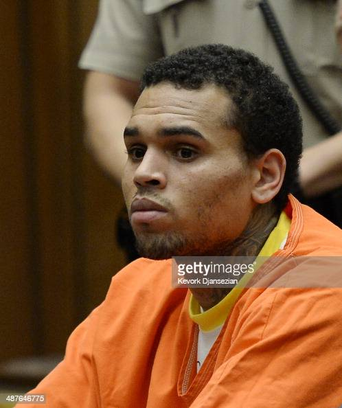 B singer Chris Brown appears in court for a probation violation hearing in Los Angeles Superior Court on May 1 2014 in Los Angeles California Brown...