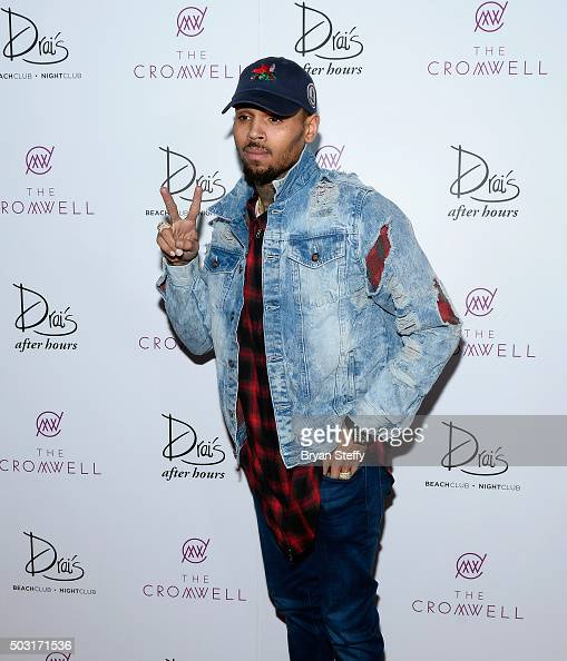 Singer Chris Brown arrives at Drai's Beachclub Nightclub at the Cromwell Las Vegas for a performance kicking off Drai's LIVE 2016 on January 1 2016...