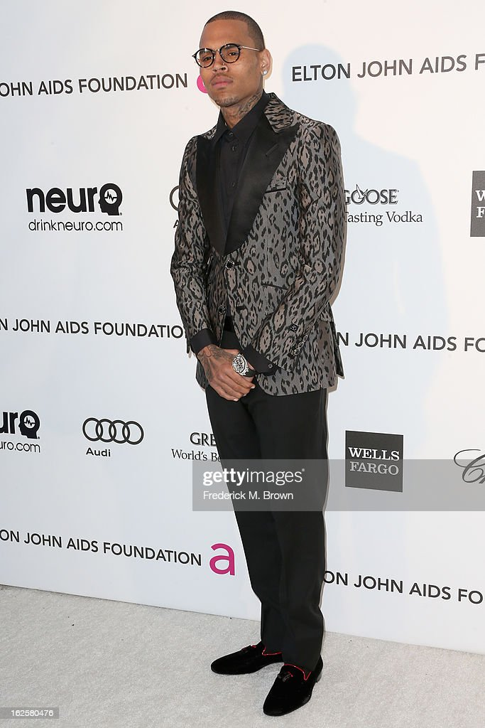 Singer Chris Brown arrives at the 21st Annual Elton John AIDS Foundation's Oscar Viewing Party on February 24, 2013 in Los Angeles, California.