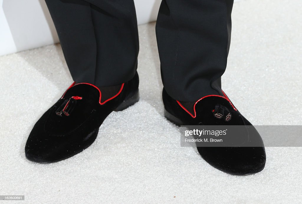 Singer Chris Brown (shoe detail) arrives at the 21st Annual Elton John AIDS Foundation's Oscar Viewing Party on February 24, 2013 in Los Angeles, California.