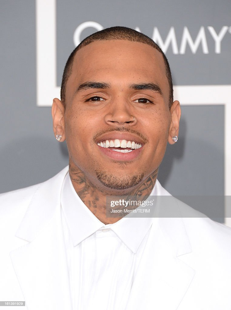 Singer Chris Brown arrives at the 55th Annual GRAMMY Awards at Staples Center on February 10, 2013 in Los Angeles, California.