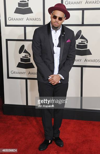 Singer Chris Brown arrives at the 57th GRAMMY Awards at Staples Center on February 8 2015 in Los Angeles California