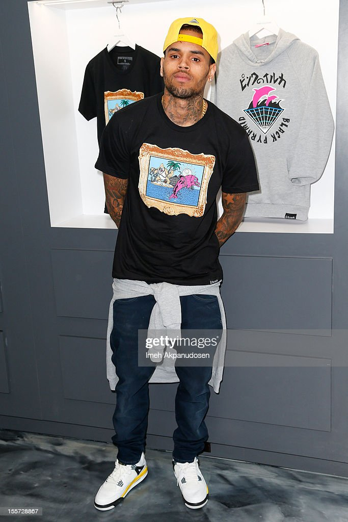 Singer Chris Brown attends a special in-store meet and greet celebration at Pink+Dolphin on November 7, 2012 in Los Angeles, California.