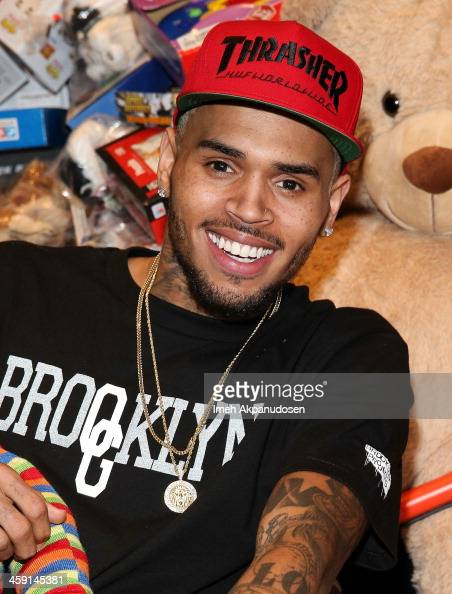 Singer Chris Brown attends the 1st Annual Xmas Toy Drive hosted by himself and Brooklyn Projects on December 22 2013 in Los Angeles California