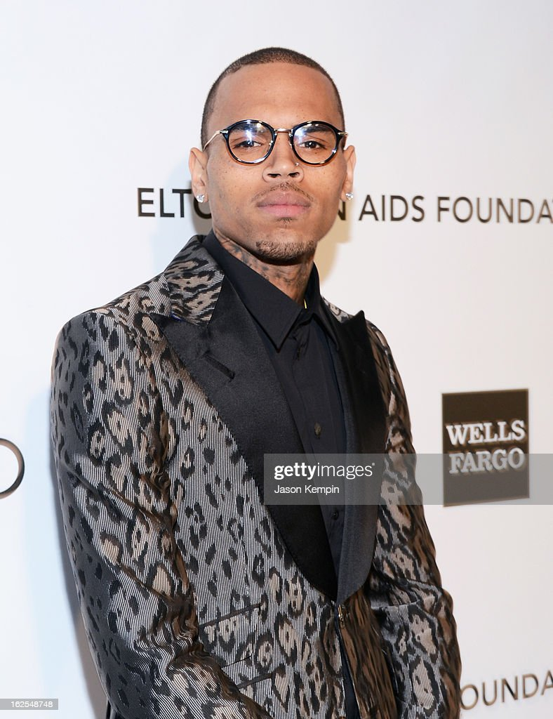 Singer Chris Brown attends the 21st Annual Elton John AIDS Foundation Academy Awards Viewing Party at West Hollywood Park on February 24, 2013 in West Hollywood, California.
