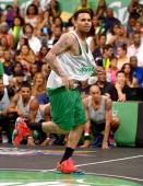 Singer Chris Brown attends the Sprite Celebrity Basketball Game during the 2014 BET Experience At LA LIVE on June 28 2014 in Los Angeles California