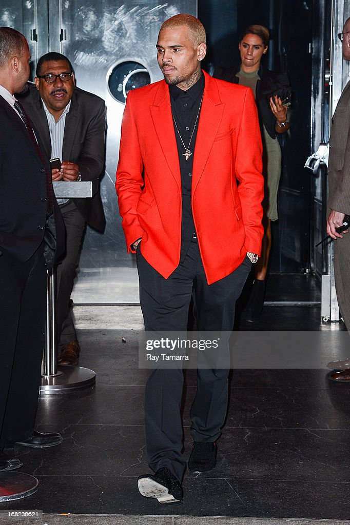 Singer Chris Brown leaves the 'PUNK: Chaos To Couture' Costume Institute Gala after party at the Standard Hotel on May 6, 2013 in New York City.