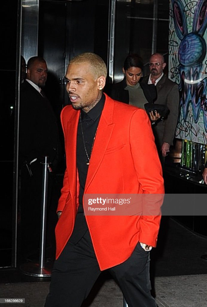 Singer <a gi-track='captionPersonalityLinkClicked' href=/galleries/search?phrase=Chris+Brown+-+Singer&family=editorial&specificpeople=4452016 ng-click='$event.stopPropagation()'>Chris Brown</a> leaves the 'PUNK: Chaos To Couture' Costume Institute Gala after party at the Standard Hotel on May 6, 2013 in New York City.