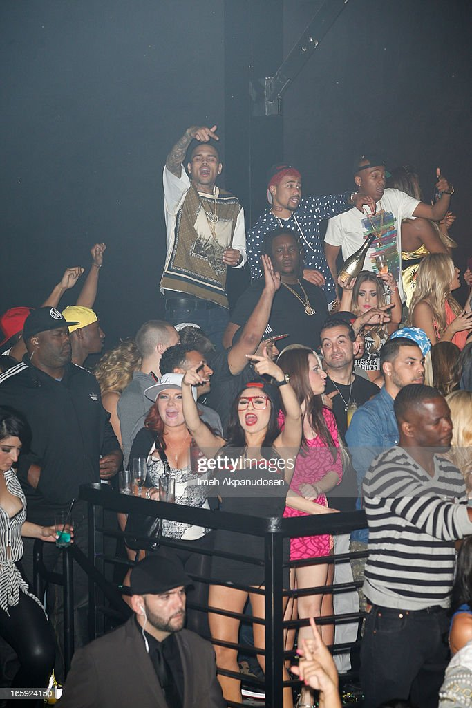 Singer Chris Brown makes a surprise appearance at Playhouse Hollywood on April 7, 2013 in Hollywood, California.