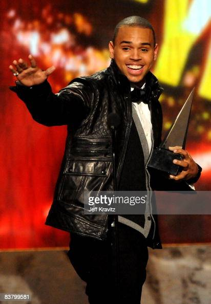 Singer Chris Brown onstage during the 2008 American Music Awards held at Nokia Theatre LA LIVE on November 23 2008 in Los Angeles California