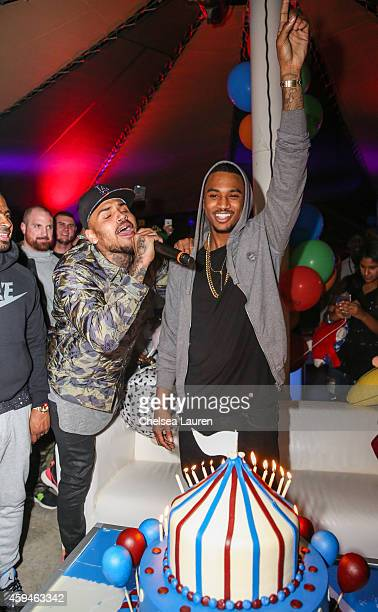 Singer Chris Brown sings happy birthday to Trey Songz at Trey Songz' 30th birthday carnival extravaganza on November 22 2014 in Agoura Hills...