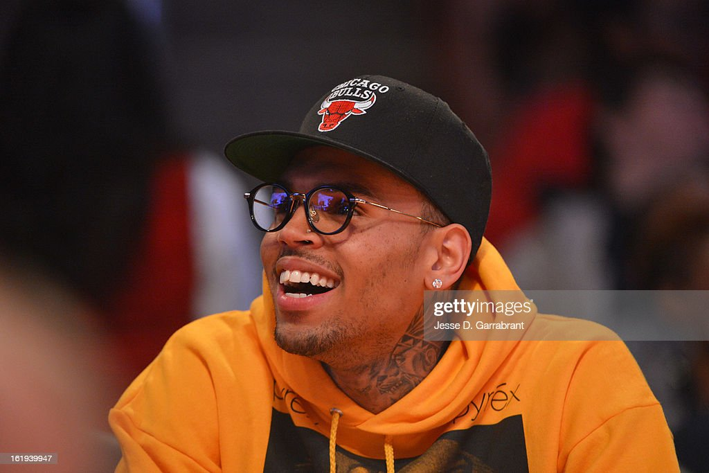 Singer Chris Brown watches the 2013 NBA All-Star Game on February 17, 2013 at the Toyota Center in Houston, Texas.