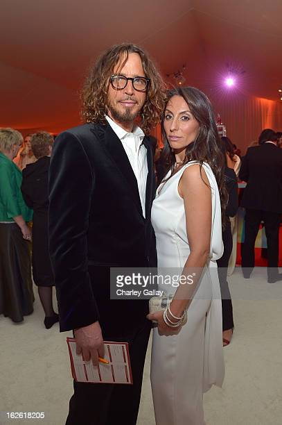 Singer Chris Cornell and Vicky Karayiannis attend Neuro at 21st Annual Elton John AIDS Foundation Academy Awards Viewing Party at West Hollywood Park...