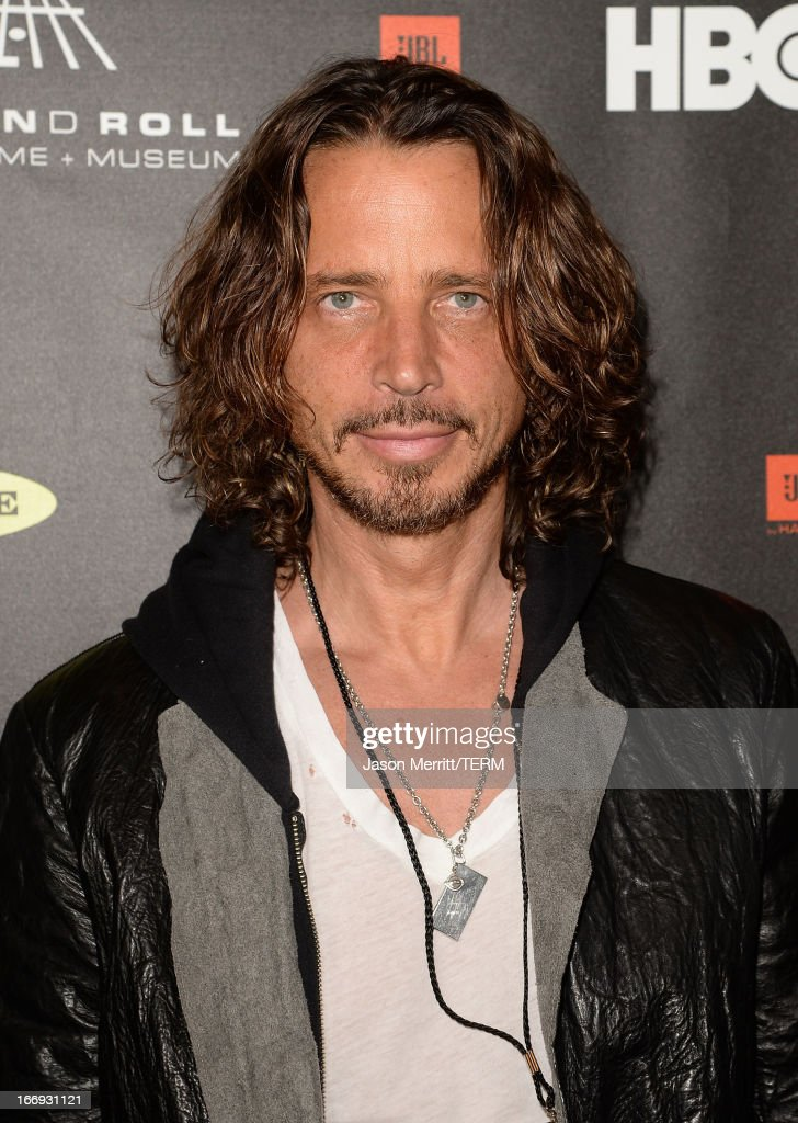 Singer <a gi-track='captionPersonalityLinkClicked' href=/galleries/search?phrase=Chris+Cornell&family=editorial&specificpeople=221615 ng-click='$event.stopPropagation()'>Chris Cornell</a> arrives at the 28th Annual Rock and Roll Hall of Fame Induction Ceremony at Nokia Theatre L.A. Live on April 18, 2013 in Los Angeles, California.