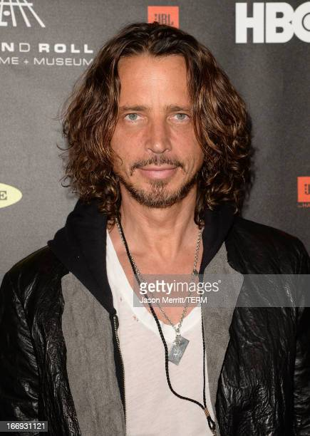 Singer Chris Cornell arrives at the 28th Annual Rock and Roll Hall of Fame Induction Ceremony at Nokia Theatre LA Live on April 18 2013 in Los...