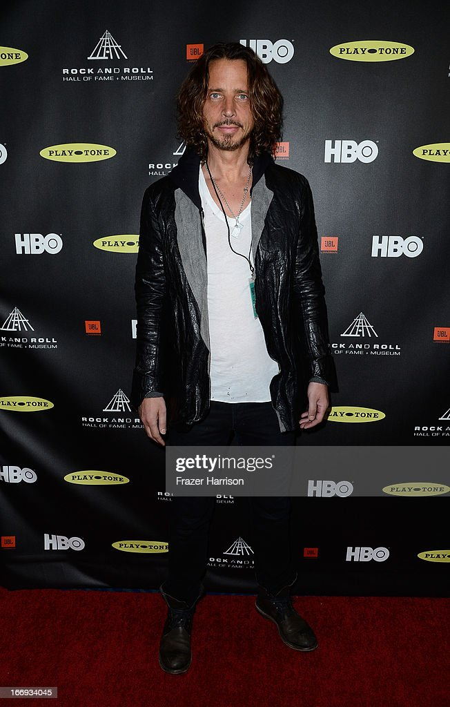 Singer <a gi-track='captionPersonalityLinkClicked' href=/galleries/search?phrase=Chris+Cornell&family=editorial&specificpeople=221615 ng-click='$event.stopPropagation()'>Chris Cornell</a> attends the 28th Annual Rock and Roll Hall of Fame Induction Ceremony at Nokia Theatre L.A. Live on April 18, 2013 in Los Angeles, California.