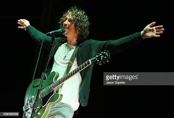 Singer Chris Cornell of Soundgarden performs during 2013 Rock On The Range at Columbus Crew Stadium on May 19 2013 in Columbus Ohio