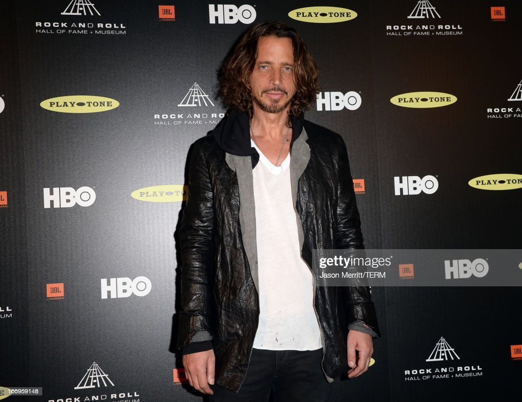 Singer Chris Cornell poses in the press room at the 28th Annual Rock and Roll Hall of Fame Induction Ceremony at Nokia Theatre L.A. Live on April 18, 2013 in Los Angeles, California.