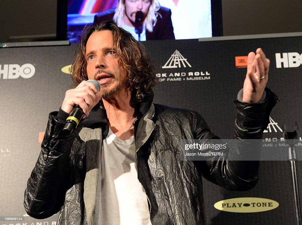 Singer Chris Cornell speaks in the press room at the 28th Annual Rock and Roll Hall of Fame Induction Ceremony at Nokia Theatre L.A. Live on April 18, 2013 in Los Angeles, California.