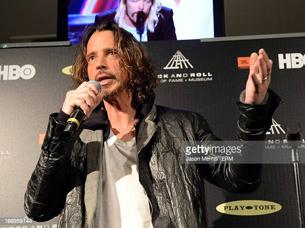 Singer Chris Cornell speaks in the press room at the 28th Annual Rock and Roll Hall of Fame Induction Ceremony at Nokia Theatre LA Live on April 18...