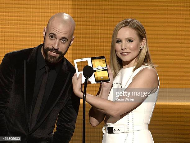 Singer Chris Daughtry and actress Kristen Bell speak onstage during the 2013 American Music Awards at Nokia Theatre LA Live on November 24 2013 in...