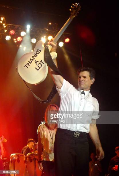 Singer Chris Isaak performs in concert at the Greek Theatre on August 24 2010 in Los Angeles California