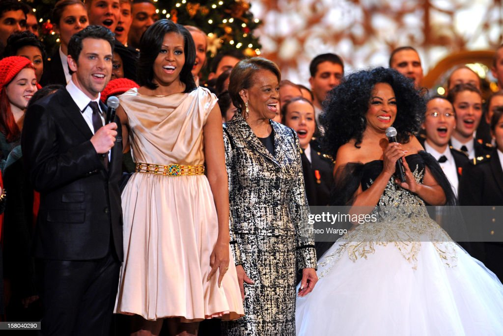 Singer Chris Mann, First Lady <a gi-track='captionPersonalityLinkClicked' href=/galleries/search?phrase=Michelle+Obama&family=editorial&specificpeople=2528864 ng-click='$event.stopPropagation()'>Michelle Obama</a>, Marian Shields Robinson and singer <a gi-track='captionPersonalityLinkClicked' href=/galleries/search?phrase=Diana+Ross&family=editorial&specificpeople=202836 ng-click='$event.stopPropagation()'>Diana Ross</a> speak onstage during TNT Christmas in Washington 2012 at National Building Museum on December 9, 2012 in Washington, DC. 23098_002_TW_0655.JPG