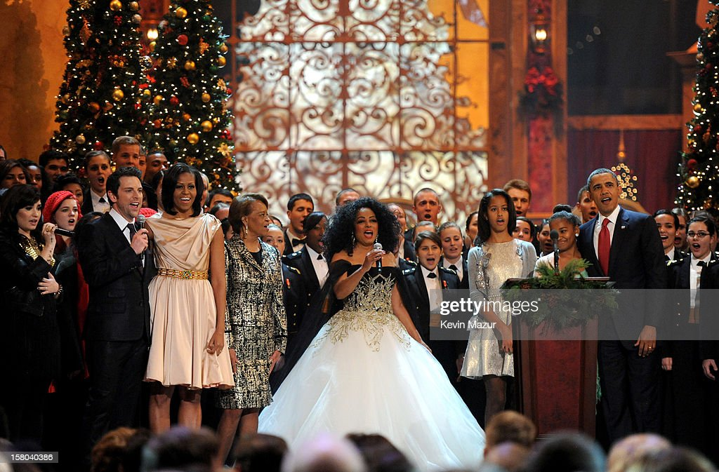 Singer Chris Mann, First Lady Michelle Obama, Marian Shields Robinson, singer Diana Ross, Malia Obama, Sasha Obama and U.S. President Barack Obama speak onstage during TNT Christmas in Washington 2012 at National Building Museum on December 9, 2012 in Washington, DC. 23098_003_KM_1440.JPG