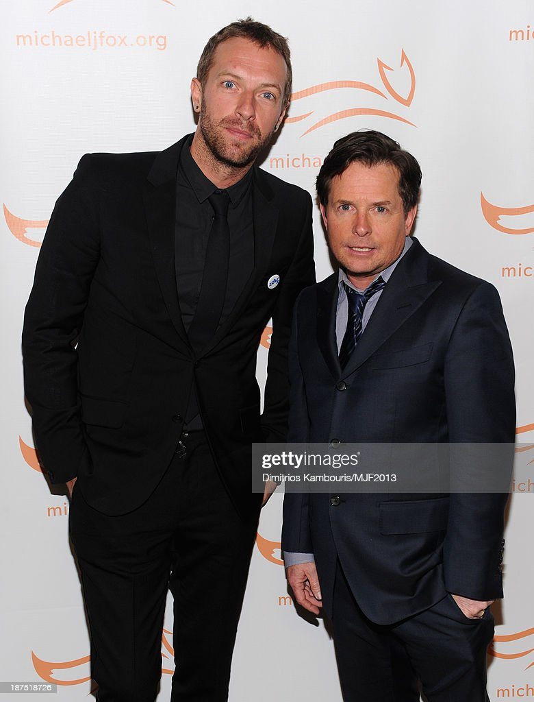 Singer Chris Martin and Michael J Fox attend the 2013 A Funny Thing Happened On The Way To Cure Parkinson's event benefiting The Michael J Fox...
