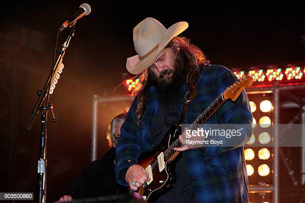 Singer Chris Stapleton performs on stage during the 'New Year's Eve Jack Daniel's Bash On Broadway' on December 31 2015 in Nashville Tennessee