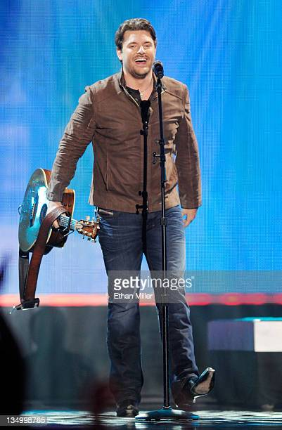 Singer Chris Young accepts the Breakthrough Single Award onstage at the American Country Awards 2011 at the MGM Grand Garden Arena on December 5 2011...
