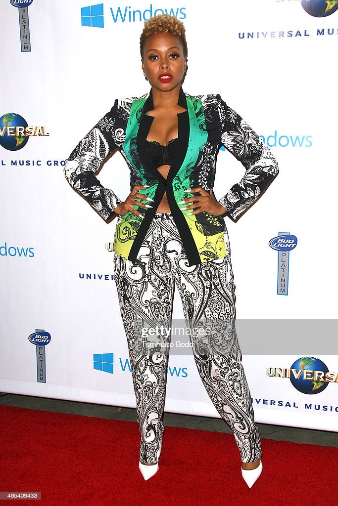 Singer <a gi-track='captionPersonalityLinkClicked' href=/galleries/search?phrase=Chrisette+Michele&family=editorial&specificpeople=4074495 ng-click='$event.stopPropagation()'>Chrisette Michele</a> attends the Universal Music Group 2014 post GRAMMY party held at The Ace Hotel Theater on January 26, 2014 in Los Angeles, California.