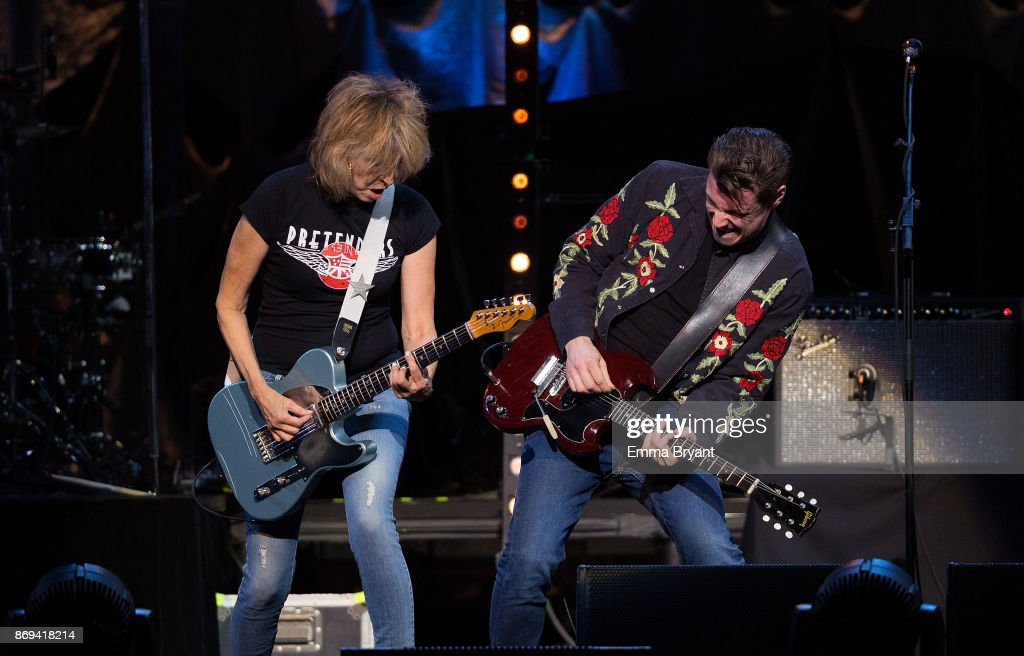 Singer Chrissie Hynde performs on stage with The Pretenders as the support act for Stevie Nicks 24 Karat Gold Tour at Perth Arena on November 2, 2017 in Perth, Australia.
