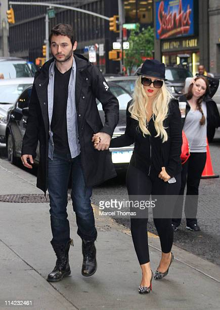 Singer Christina Aguilera and beau Matthew Rutler seen arriving at the 'Late Show With David Letterman' at the Ed Sullivan Theater on May 16 2011 in...
