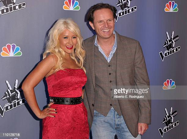 Singer Christina Aguilera and executive producer Mark Burnett arrive at NBC's press conference for the their new Show 'The Voice' on March 15 2011 in...