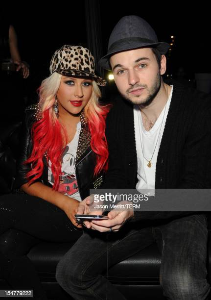 Singer Christina Aguilera and Matt Rutler attend the Samsung Galaxy Note II Beverly Hills Launch Party on October 25 2012 in Los Angeles California