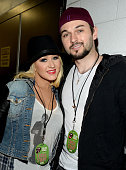 Singer Christina Aguilera and Matthew Rutler attend the kick off of The Rolling Stones 15city North American stadium ZIP CODE tour at Petco Park on...
