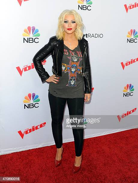 Singer Christina Aguilera arrives at NBC's 'The Voice' Season 8 red carpet event at Pacific Design Center on April 23 2015 in West Hollywood...