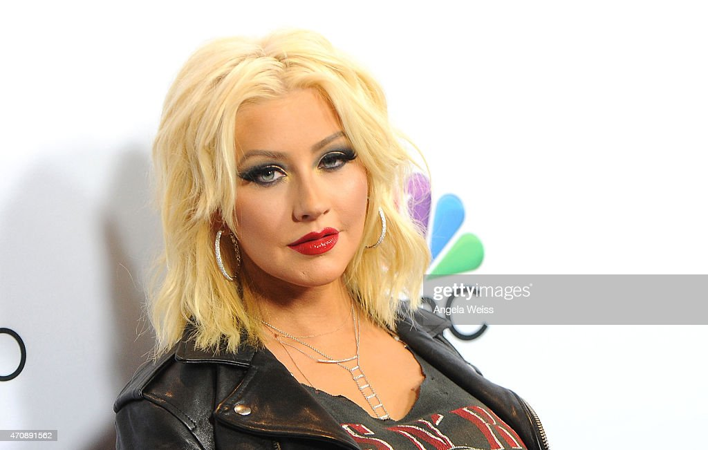 Singer <a gi-track='captionPersonalityLinkClicked' href=/galleries/search?phrase=Christina+Aguilera&family=editorial&specificpeople=171272 ng-click='$event.stopPropagation()'>Christina Aguilera</a> arrives at NBC's 'The Voice' Season 8 red carpet event at Pacific Design Center on April 23, 2015 in West Hollywood, California.
