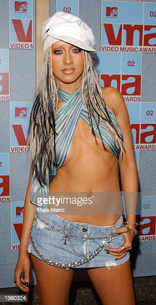Singer Christina Aguilera arrives at the 2002 MTV Video Music Awards at Radio City Music Hall August 29 2002 in New York City