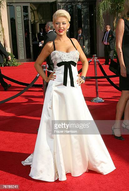 Singer Christina Aguilera arrives at the 59th Annual Primetime Emmy Awards at the Shrine Auditorium on September 16 2007 in Los Angeles California