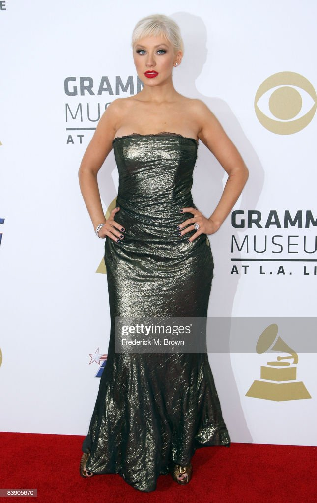 Singer <a gi-track='captionPersonalityLinkClicked' href=/galleries/search?phrase=Christina+Aguilera&family=editorial&specificpeople=171272 ng-click='$event.stopPropagation()'>Christina Aguilera</a> arrives at the Grammy Nominations concert live held at the Nokia Theatre LA Live on December 3, 2008 in Los Angeles, California.