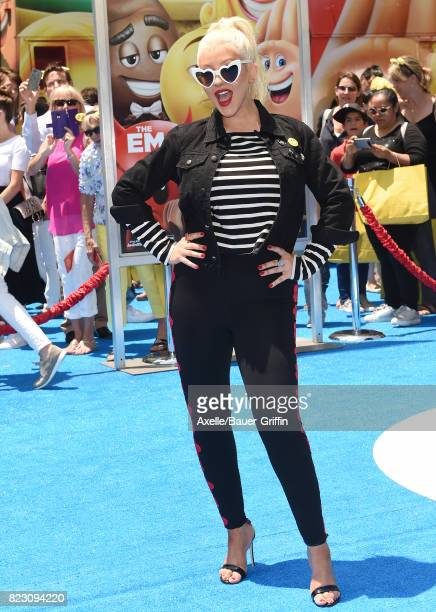 Singer Christina Aguilera arrives at the premiere of 'The Emoji Movie' at Regency Village Theatre on July 23 2017 in Westwood California
