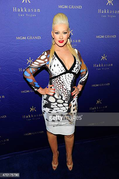 Singer Christina Aguilera arrives at the second anniversary of Hakkasan Las Vegas Restaurant and Nightclub at MGM Grand Hotel Casino on April 17 2015...