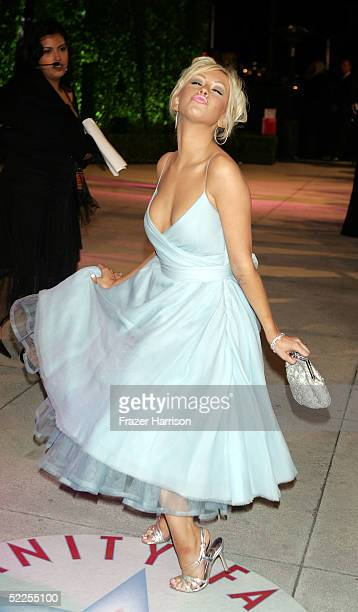 Singer Christina Aguilera arrives at the Vanity Fair Oscar Party at Mortons on February 27 2005 in West Hollywood California