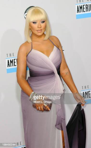 Singer Christina Aguilera arrives for the 40th Anniversary American Music Awards Arrivals held at Nokia Theater LA Live on November 18 2012 in Los...