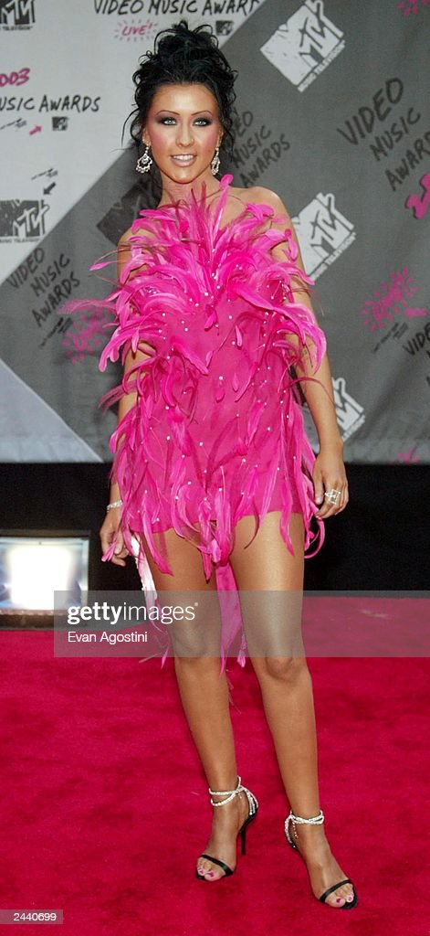 Singer Christina Aguilera arrives to the 2003 MTV Video Music Awards at Radio City Music Hall on August 28 2003 in New York City