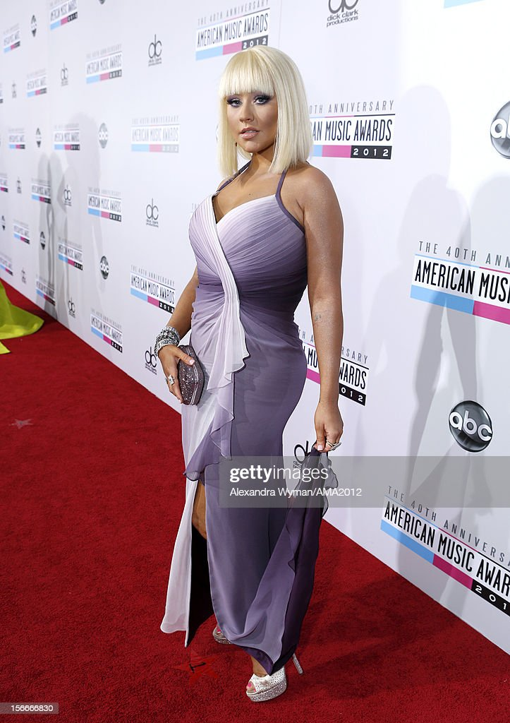 Singer Christina Aguilera attends the 40th American Music Awards held at Nokia Theatre L.A. Live on November 18, 2012 in Los Angeles, California.
